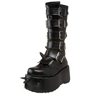 Demonia Wicked 800 Black Platform Boots Buckle 11